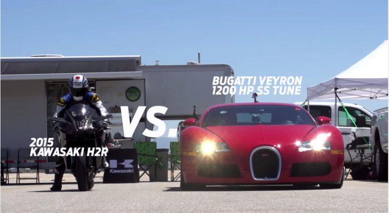 Saat Ninja H2R Beradu Cepat dengan Bugatti Veyron