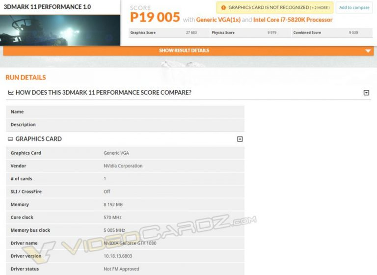 Mengintip Performa Nvidia GeForce GTX 1080 di Database 3DMark