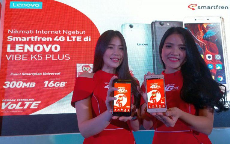 Gencarkan Fitur VoLTE, Smartfren Gandeng Lenovo Rilis Paket Bundling Lenovo VIBE K5 Plus