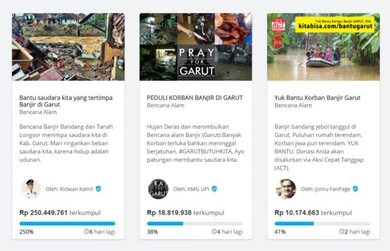 Banjir Garut, Ridwan Kamil Ajak Netizen Berdonasi di Kitabisa.com