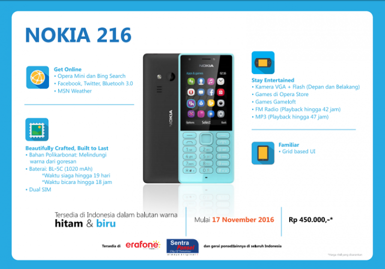 Microsoft Resmi Boyong Nokia 216 Dual SIM ke Indonesia