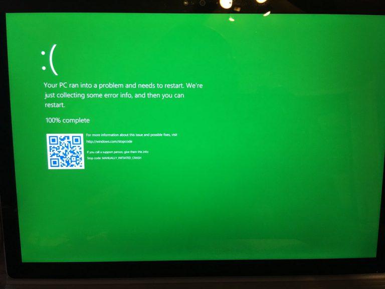 Setelah 'Blue Screen of Death', Microsoft Perkenalkan 'Green Screen of Death' di Windows 10