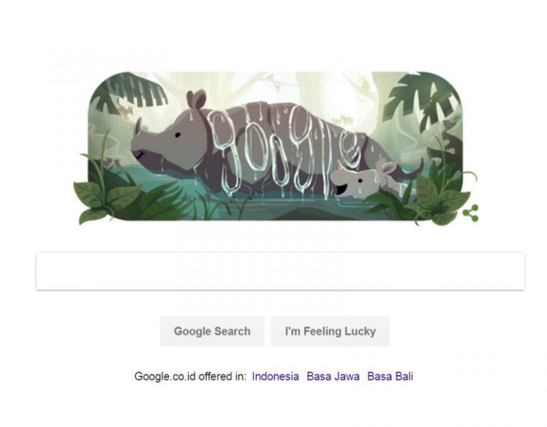 Google Doodle Badak Jawa Tandai Ultah ke-25 Taman Nasional Ujung Kulon