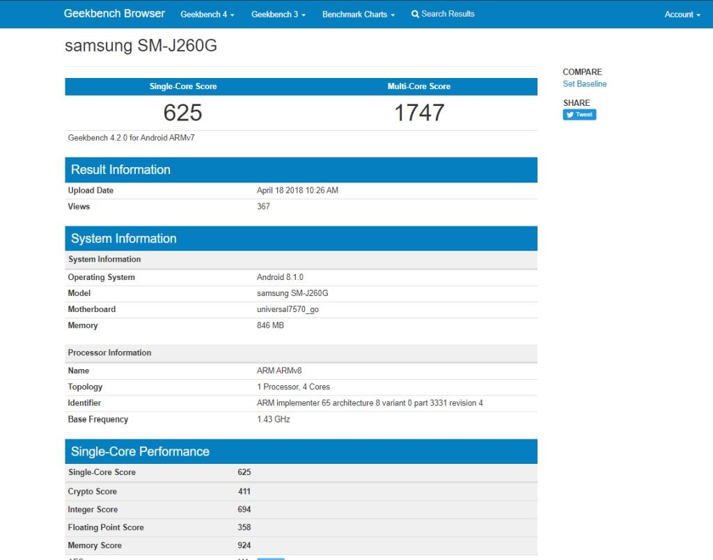 Geekbench Samsung SM-J260G