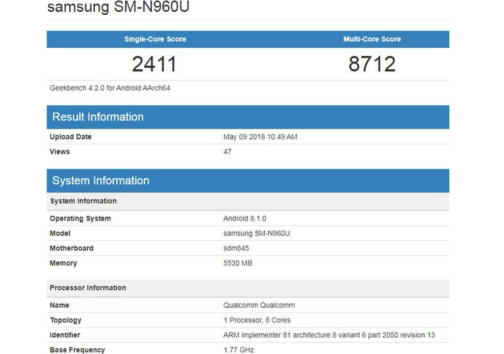 GeekBench Galaxy Note 9