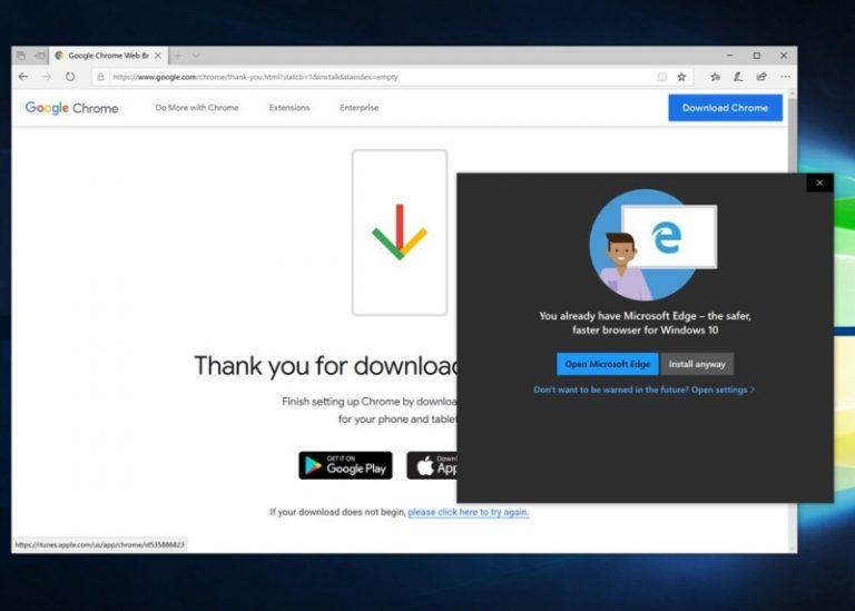 Yakin Browser Edge Sudah OK, Microsoft Ingatkan Pengguna yang Kedapatan Meng-Install Chrome atau Firefox