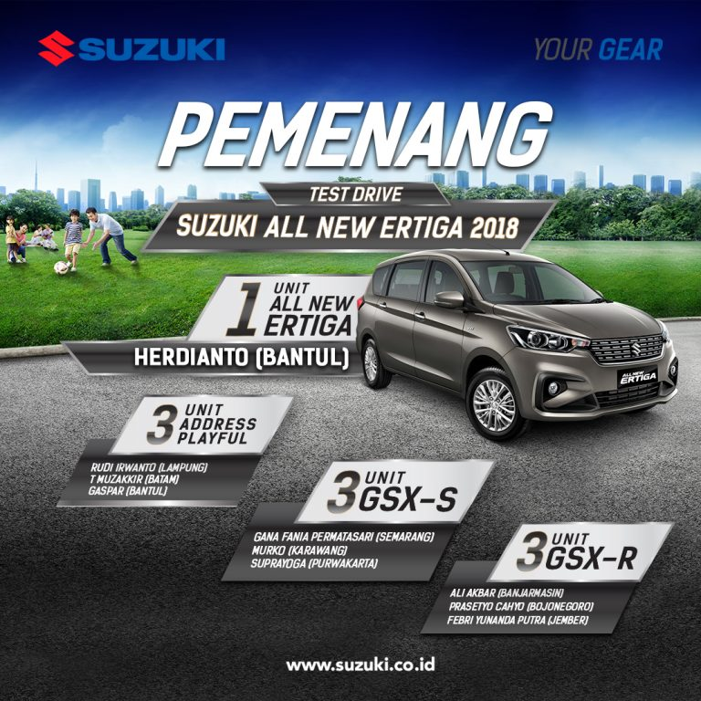 Suzuki Umumkan Pemenang Program Test Drive All New Ertiga