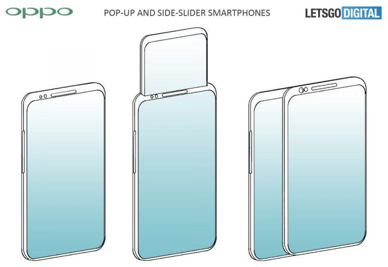 """Oppo Patenkan Desain Smartphone dengan Tampilan Pop-up dan """"Slider"""" Samping"""
