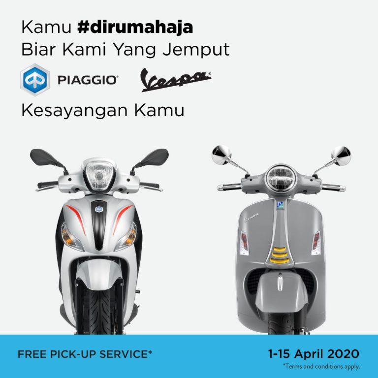 Selama Periode #DiRumahAja, Piaggio Bersedia Antar Jemput Kendaraan Konsumen untuk Di-servis