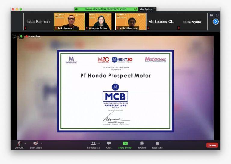 Prestasi di Tengah Pandemi, Honda Raih Penghargaan Inovasi Penjualan Online