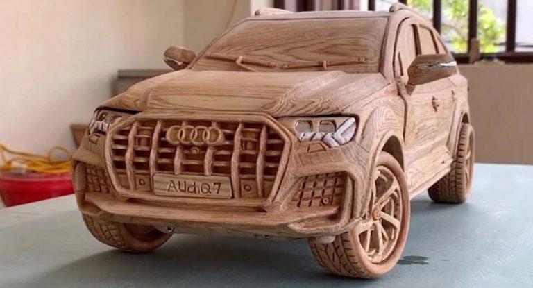 Keren! Kayu Disulap Jadi Mobil Skala Audi Q7