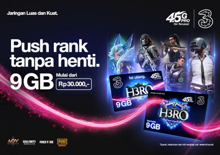 'Push Rank' Tanpa Khawatir, 3 Indonesia Luncurkan Kartu Perdana H3RO Khusus Gamers