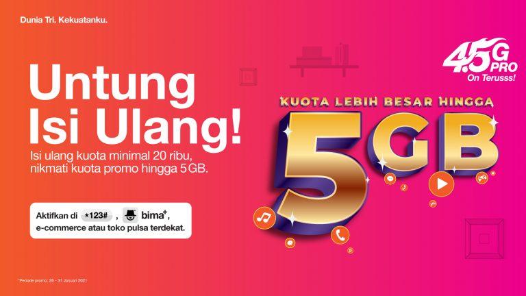 Apresiasi Pelanggan Setianya, Ada Bonus 5GB Setiap Isi Ulang Kuota di 3 Indonesia