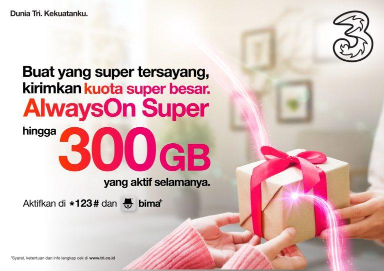 3 Indonesia Luncurkan Paket AlwaysOn Super 300 GB, Kuota Besar Aktif Selamanya